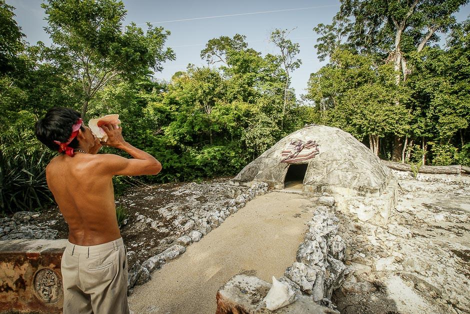 Aztecka łaźnia o nazwie temazcal w Meksyku