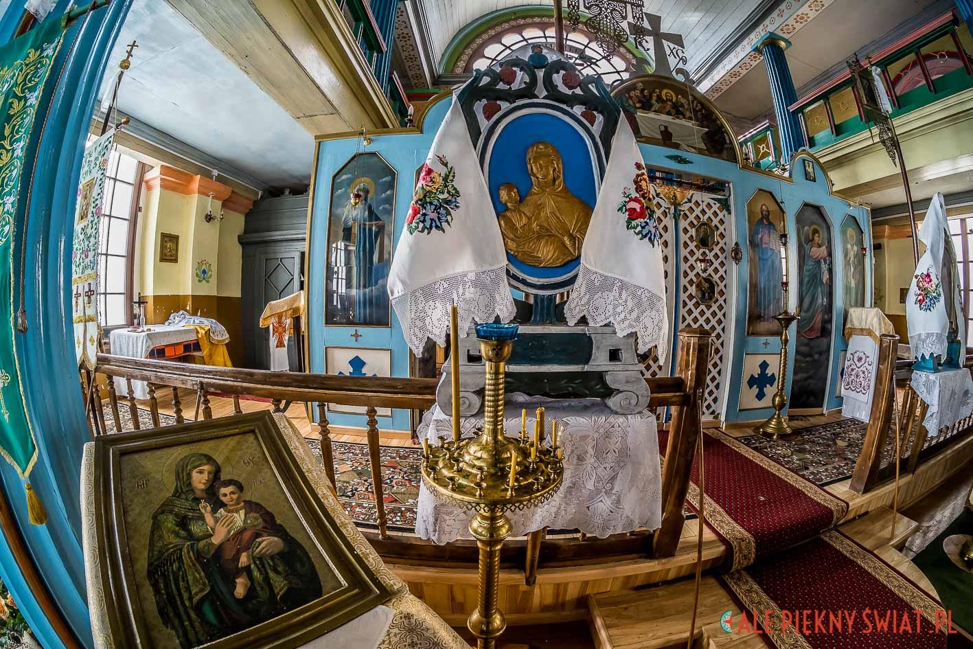 Wnętrze cerkwii grekokatolickiej w Ornecie na warmii