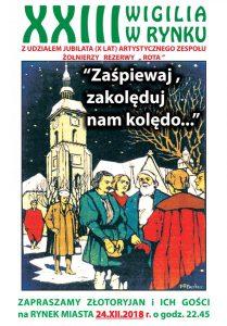 Plakat zapowiadaljący wspólne olędowanie na rynku w Złotoryi