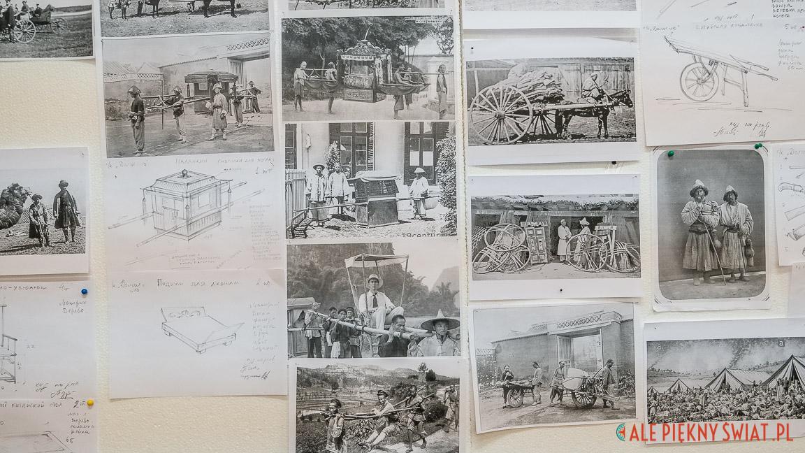 Wydruki XIX wiecznych fotografii i projekty zabudowy planu fimowego